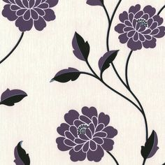 Erismann Savanna Floral Wallpaper Purple, Cream and Black 9610-09