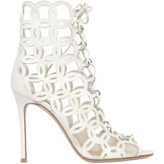 Gianvito Rossi Women 100mm Nappa Leather Cage Boots (€475) ❤ liked on Polyvore featuring shoes, boots, booties, white, white shoes, white high heel shoes, high heel boots, white boots and white high heel boots
