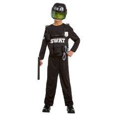 Halloween Boys' Swat Deluxe Costume - Hyde and Eek! Boutique, Size: S Black Boys Swat Costume, Swat Halloween Costume, Boy Costumes, Halloween Costumes For Kids, Costume Ideas, Military Costumes, Team Apparel, Boutique, Hyde