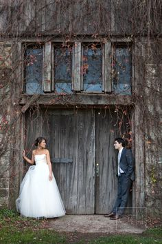 Bride and Groom Outside Barn | photography by http://www.christianothstudio.com/