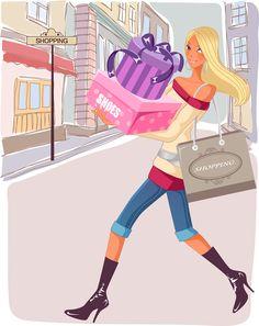 Gifts. Shopping. Fashion Girl Illustrazione / Regali. Negozi. Illustrazione Ragazza Moda - Art by Vector #VectorGirls