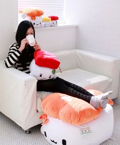 Kawaii Sushi Plush by Cotton Food. I want the giant one it's 70cm!