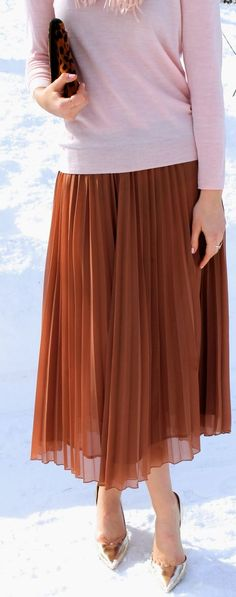 Anthropologie Brown Pleated Skirt