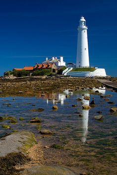 St Mary's Lighthouse, Whitley Bay on the coast of North East England