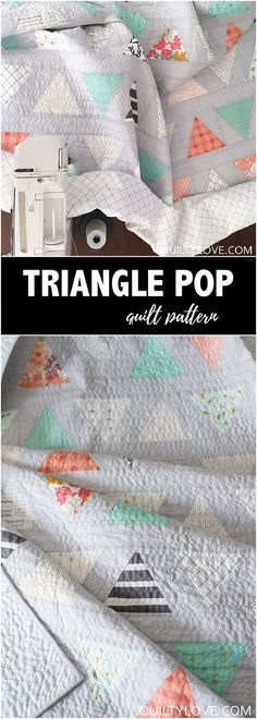 Twin size Triangle Pop Quilt - The low volume quilt - Quilty Love.   Easy triangle quilt for beginners is fat quarter friendly. Quilty Love Pattern. #trianglequilt #modernquilt #trianglepop #quilting