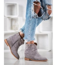 Bella Paris Suede Cowboy Boots With Rhinestones grey Suede Cowboy Boots, Heeled Boots, Shoe Boots, Types Of Heels, Silver Heels, Comfortable Shoes, Wedge Heels, Bella, Rhinestones