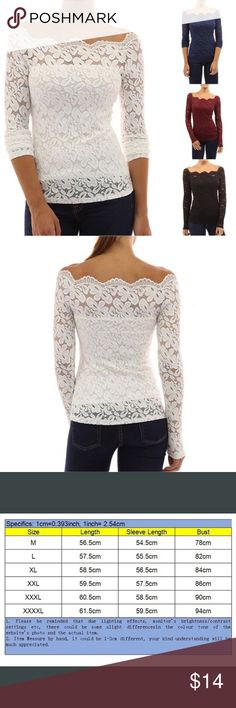 Long sleeve lace blouse, NIP Beautiful white long sleeve lace blouse. I ordered the wrong size. New in package! Tops Blouses