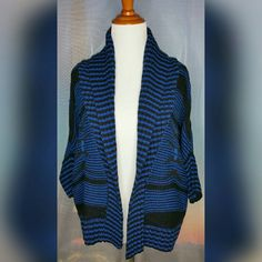 *EXPRESS* THICK KNIT OPEN CARDIGAN Size XS. Blue/black. Tribal print. Dolman sleeve. Open front. High collar. Thick/soft/cozy. No pilling. Excellent Used Condition. 60% Acrylic/40% Merino Wool. Express Sweaters Cardigans