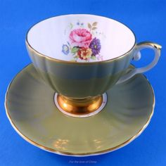 Moss Green with Floral Center Royal Grafton Tea Cup and Saucer Set