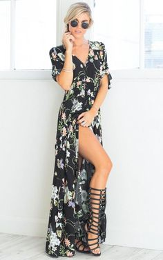 2bc6e9eca77b Shop V Neck Short Sleeve High Split Floral Printed Maxi Bohemian Dress at  victoriaswing, personal womens clothing online store!