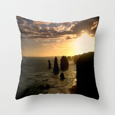 Sunset, Sky, Clouds, Limestone Stacks,  Seascape, Ocean, Beach, Waves, Reflections, Australia.