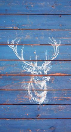 Deer on blue wood. iPhone wallpaper