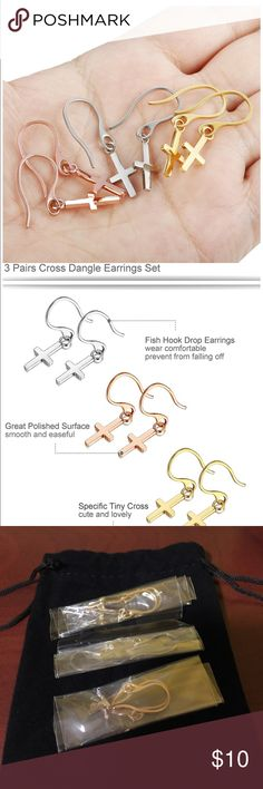 Cross Dangling Earrings Set 3 Pairs 3 Mixed Colors Stainless Steel Cross Drop Earrings, Go Well with any Style for any Occasion, Providing Your More Choices, Meeting Your Daily Needs Specific Tiny Cross Design, Cross Size: 15mm*8mm (0.6In*0.3In), The Thickness of the Ear Pin is 1MM(18 Gauge), So It is Convenient to Put on and Take off,Super Cute and Lovely Three Different Colors, Silver-tone, Gold-tone and Rose gold-tone in One Set, Great Polished Surface Match with Unique Fish Hook, Smooth…