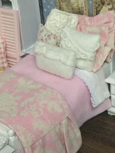 Pale Shabby Spring Miniature Dollhouse by RibbonwoodCottage