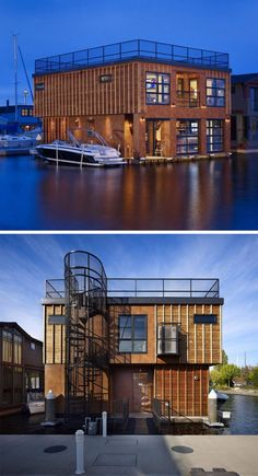11 Awesome Examples Of Modern House Boats // This two-storey houseboat has a roof deck that's accessible from a ground floor spiral staircase.