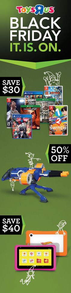 Fun for all ages, savings specifically for you. Snag sweet #BlackFriday deals on selected video games, Pokémon and Yu-Gi-Oh trading cards and tins, nabi Hot Wheels and Barbie kids' tablets, and NERF N-Strike Rhino-Fire Blaster Bonus Pack. Get 'em all online only right now, then revel in #ThatBlackFridayFeeling