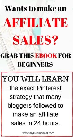 Affiliate marketing for beginners. Need help in making affiliate sales? This eBook has helped me get started with making affiliate sales. #affiliate #blogging  aff link