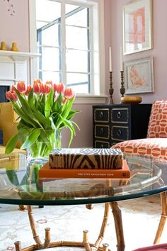 Angie Hranowski - Chic living room with pale pink walls paint color, Dorothy Draper chest