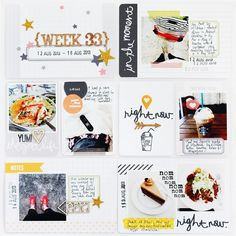 Week 33 left page using Midnight Core Kit.