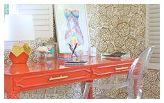 Rosa Beltran Design. Orange Lacquer desk