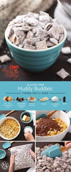 What could be better than a fresh batch of Muddy Buddies? A fresh batch of this holiday treat on a snowy day next to a cozy fireplace. Plus, Muddy Buddies are easy to make gluten free! (peanut butter desert recipes no bake cookies) Chex Mix Recipes, Snack Recipes, Dessert Recipes, Baking Recipes, Free Recipes, Dinner Recipes, Holiday Baking, Christmas Baking, Delicious Desserts