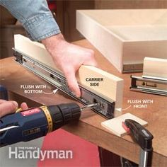Organize Kitchen Storage With Kitchen Cabinet Rollouts: The Family Handyman Build simple rollout shelves and bring everything in your cabinets within easy reach Kitchen Base Cabinets, Kitchen Drawers, Kitchen Pantry, Diy Kitchen, Kitchen Design, Kitchen Ideas, Organized Kitchen, Wood Drawers, Cupboards