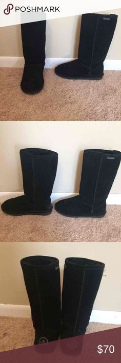 Tall Bearpaw Black Boots Great condition barely worn boots. Size 6. Cannot find box to ship it in. No creasing. Emma Tall boots. Also on M cheaper. BearPaw Shoes Winter & Rain Boots