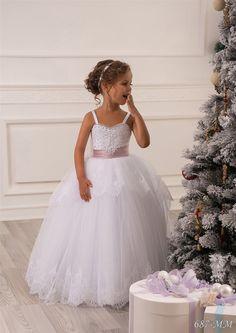 Spitze-weiße Blumen-Mädchen- Kleid - Geburtstags- Brautjungfern  - Hochzeit Urlaub