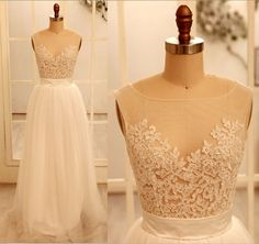 Sheer Tulle Lace Wedding Dress V Back Dress by misdress on Etsy, $169.00