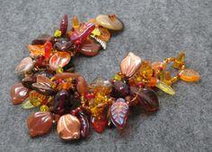 Beaded Bracelet  The Leaf Series  Fall Autumn by by randomcreative, $35.00
