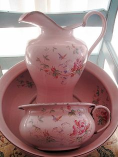Antique Roses Pink Enamelware