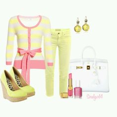 """Pastel Pink & Yellow"" created by socalgurl4 on Polyvore"