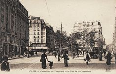 Le carrefour de la rue de la Convention, de la rue de Vaugirard et de la rue Alain-Chartier, vers 1900. L'époque encore où on se demandait à quoi servaient les trottoirs...