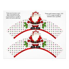 2 Christmas Santa Personalized Cupcake Wrappers #Cupcake #christmascupcake #holidaywrappers #cupcakeliner