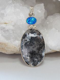 Dendritic Opal Pendant with Fire Opal 1