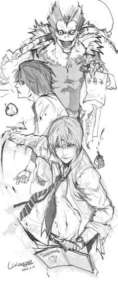 Light Yagami Kira, Ryuk, L Lawliet - Death Note Death Note Anime, Death Note デスノート, Death Note Fanart, Death Note Light, Manga Anime, Anime Art, Vocaloid, Tsugumi Ohba, Dibujos Anime Chibi