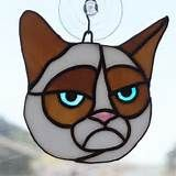 Stained Glass Suncatcher Cat and
