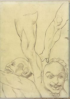 Joseph Wright (Wright of Derby) (British, 1734–1797). Two Demons and Two Legs, probably after Michelangelo (Smaller Italian Sketchbook, leaf 16 recto), 1774–75 (?). The Metropolitan Museum of Art, New York. Rogers Fund, 1957 (57.102.1(16))