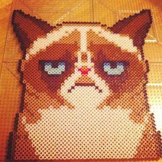 Grumpy Cat perler beads by xxibchonlee #GrumpyCat #FanArt