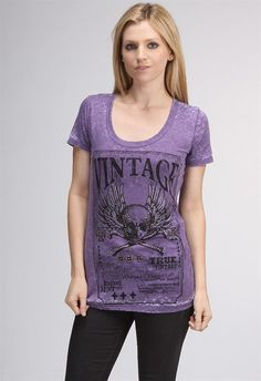 MotoChic Vintage Skull in Grape. Scoop neck burnout tee graphic tee with crystal & stud embellishments.