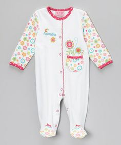 Take a look at this Pink & White Floral 'Adorable' Footie - Infant by Carter's Watch the Wear on #zulily today!