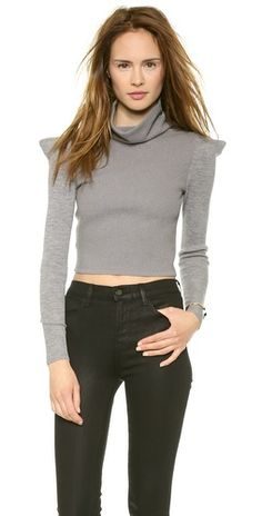 McQ - Alexander McQueen Cropped High Sweater | SHOPBOP