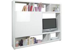 """""""Elegantes Media Wohnregal in Lack Weiß Hochglanz. Das Fernsehfach ist mit einer praktischen Schiebetüre ausgestattet. Die Abmessungen der Türe betragen: B/H: ca. 105 / 85 cm."""""""