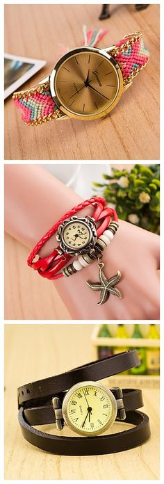 It is definitely time to get yourself a trendy bracelet watch! Get it in leather or woven, and even more styles for up to 90% off until April 28, 2015! Check them out!