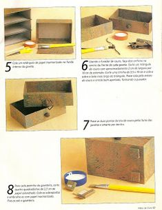 Artesanato e Cia : Mini gaveteiro - cartonagem - passo a passo Cardboard Recycling, Cardboard Storage, Cardboard Crafts, Diy Storage Drawers, Craft Room Storage, Craft Organization, Cardboard Furniture, Recycled Furniture, Jewellery Box Making