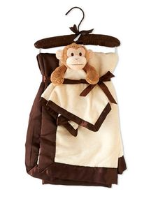 K & K Security Monkey Baby Blanket Set  Great Item to have Monogrammed or Personalized!  www.3tailer.com