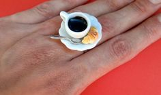 Coffee and Croissant Ring-Polymer clay Food Jewelry
