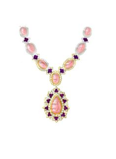 Drawing of a diamonds, coral and amethysts necklace. Circa 1970.  Van Cleef & Arpels Archives © Van Cleef & Arpels