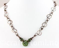 The focal of this piece is a nephrite jade faceted briolette, accompanied by two round jade gemstones on either side. The combination of dark green in Art Nouveau, Jade Necklace, Handcrafted Jewelry, Handmade, Looking Stunning, Copper, Jewelry Making, Gemstones, Chain