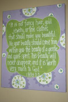 A Gentle & Quiet Spirit, 1 Peter 3:3, 16x20 Nursery Wall Art, Bible Verse Canvas Painting, Baby gift, Baptism, Dedication, Christening gift